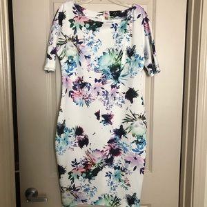 NWOT modern floral print dress, w/short sleeves